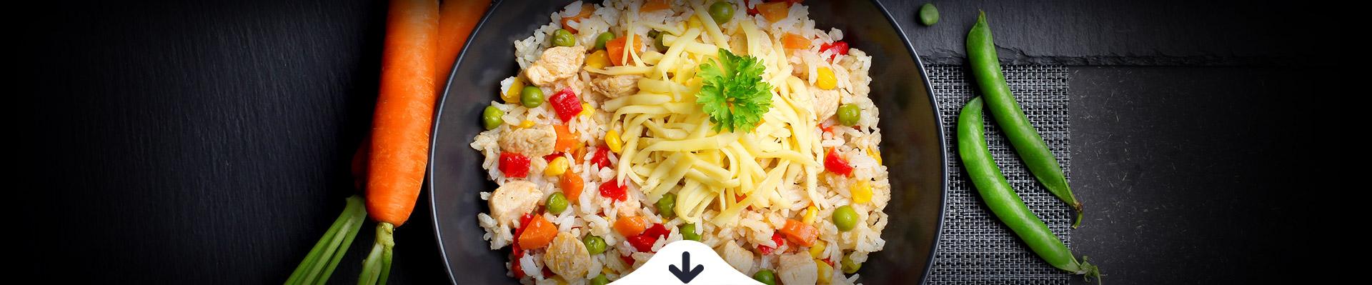 HELLO FOOD Sajtos-zöldséges csirkerizottó