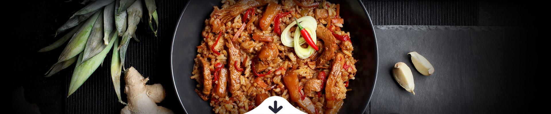 HELLO FOOD Szecsuáni csípős csirkecsíkok rizzsel